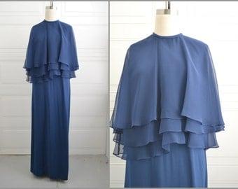 1970s Jeanne Durrell Navy Chiffon Maxi Dress