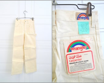 1980s NOS Boy's Wrangler Cream Carpenter Jeans