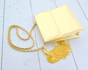 1980s Metallic Gold Vinyl Handbag with Tassel