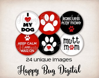 All About DOGS Digital Collage Sheet - 1 inch Round Circles for Pendants, Bottle Caps, Magnets  INSTANT DOWNLOAD