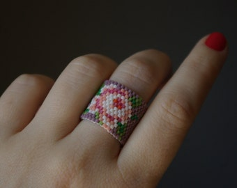 Hand beaded flower ring.Statement ring.Wide ring.Floral ring.Romantic ring.Unique ring.Gift for Her.Birthday Gift.Christmas SALE