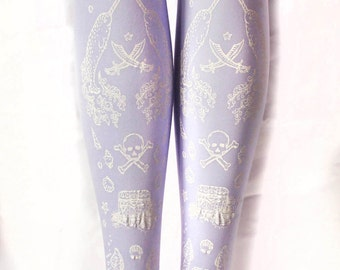 Plus Size Fairy Kei Pastel White on Lilac Narwhal Pirate Tattoo Tights Extra Large Light Purple Lolita Kawaii