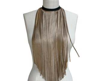 Leather Fringe Necklace - Bib Necklace - Long fringe necklace - Bronze - metallic leather - Black and Gold - Statement necklace - Hip Choker