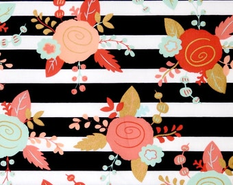 Floral black and white stripes fabric, boho fabric mint, coral, gold flowers fabric, 100% cotton for Quilting and general sewing projects.