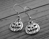 Silver Pumpkin Earrings Pumpkin Jewelry Jack O Lantern Jewelry Fall Jewelry Autumn Jewelry Halloween Earrings Halloween Jewelry Gothic Goth