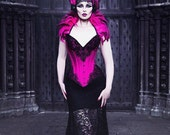 Hot Pink & Black 'Jennifer' Pointed Evil Queen Lace Feather Headdress Gothic Couture