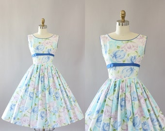 Vintage 50s Dress/ 1950s Cotton Dress/ Pastel Floral Cotton Dress w/ Blue Waist Tie XS