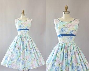 Vintage 50s Dress/ 1950s Cotton Dress/ Pastel Floral Cotton Dress w/ Blue Waist Tie XS