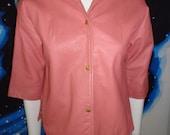 1950's BAD GIRL Pink Leather Pin Up  Shirt Jacket Western Biker Hot Rod Rockabilly VlV