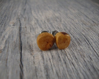 Small Wooden Stud / Post Earrings -Redwood Tree Branch Wood - Handmade in the USA - hypoallergenic / surgical steel