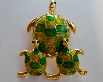 Turtle Times Three! Mother + Two Babies =  Three! 11 Lemon Lime AB Swarovski Crystals! Nice Lemon Lime Colored Enamel! Ships Free! On Sale!