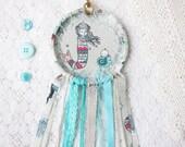 Mama Mermaid Dream Catcher, Nursery Decor, Aqua Blue & Grey, Shabby Chic Lace Dream Catcher, Baby Room, Made to Order