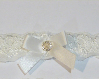 Ivory Lace Garter with Ivory Satin Bow, Pearls and Rhinestones.