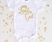 Little Lamb of God Gerber® ONESIE® Brand Bodysuit, Birth Announcement, Baby Shower Gift, Newborn Take Home Outfit (SH016)