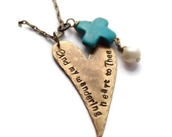 Bind My Wandering Heart Vintaj Brass   & Turquoise Necklace