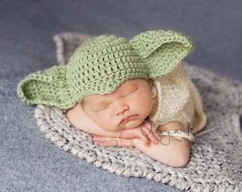 IN STOCK Newborn Yoda hat, Star wars hat, Baby Yoda hat - Photo prop