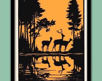Woodland Deer Poster. Black on Orange Silhouettes . Large A2 (40 X 60 CM ) Print
