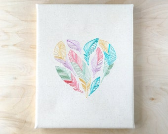 Embroidered Canvas Wall Art - Feather Heart