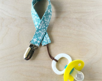 Pacifier Clip - Teal Damask
