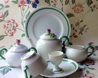 Antique Crown Staffordshire Breakfast Set - English Porcelain - Art Deco Style China - Breakfast in Bed