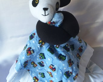 Panda Plush With Train Blankie - Super Cute Security Blanket w/ Fleece Panda. Your child can have their plush and blankie together in one.