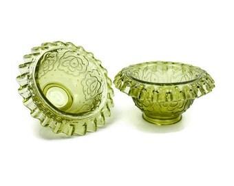 Fenton Glass Bowls / SET of 2 / Ruffled Glass Bowls / Serving Bowls / Persian Medallion Pattern / Ruffled Edges / c1970s