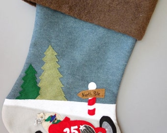 "Race Car Stocking--""Racing to Santa's Side"""