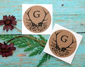 Rustic Monogram Antler Stickers, Envelope Seals, Labels, Packaging Label, Custom Sticker