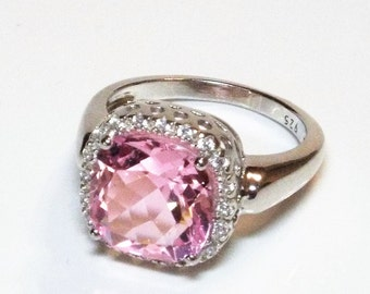 Pink and White Sapphire Cocktail Ring