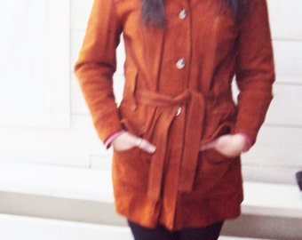 70s Suede Trench Coat,  Suede jacket belted -  white stitching - wide collar