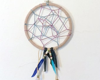 Blue Feather And Purple Suede Dream Catcher, 8.5 Inch Embroidery Hoop Wall Hanging, Bohemian Home Decoration, Honey Bee Bead