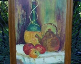 Still Life Oil Painting, Framed. Vintage 1950s 1960s. Mid Century. Apples, Demijohn Wine Bottle, Copper Kettle. Wood Frame. Original Art.