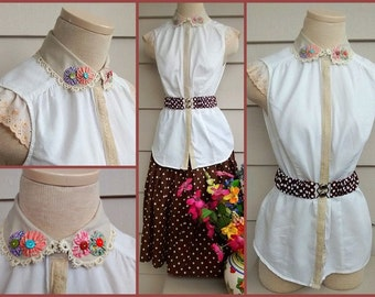 Lolita Blouse - S/M - Romantic Upcycled Cream blouse with Tan Peter Pan Collar, Vintage Trim, and 1930's Reproduction Collar Appliques