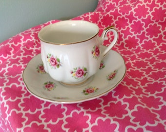 Vintage Teacup and Saucer,  70's , FTD, rose pattern extra touch