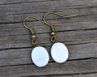 White Mother of Pearl Ovals . Earrings