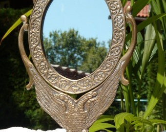Antique Solid Brass Oval Mirror Double Headed Eagle - Dressing Table Mirror - Autumn Vintage Finds - SPT Team - Collectible - Antique