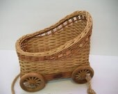 Vintage Basket Buggy, Basket on Wheels, Doll Carriage Basket, Rolling Basket, Basket on Wheels, Basket Pull Toy, Doll Bed, Baby Buggy,