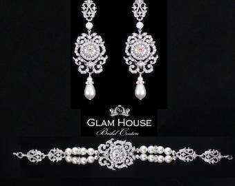 Pearl bridal jewelry,Pearl earrings, pearl bracelet,wedding earrings,Bridal Jewelry Set,bridal bracelet,vintage wedding,art deco jewelry