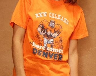 vintage DENVER BRONCOS super bowl football t shirt incredibly RARE 1979 t-shirt