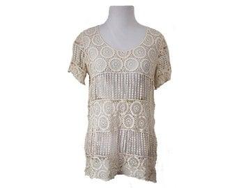 Women's Crochet Lace Top Blouse Off White Size Medium