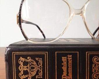 Vintage Black/Silver Accented Oversized Eyeglass Frames, Valdottica 56/15, 140