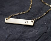 Bar Monogram Necklace, Gold Initial Necklace, Bar Gold Monogram Necklace, Personalized Initial Bar Necklace, Custom Initial Bar Necklace