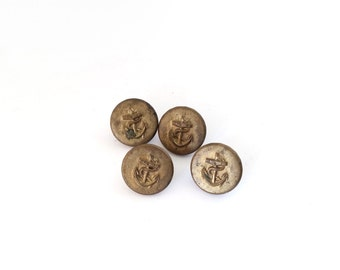 4 Anchors Buttons, Tiny, Vintage Antique Gold Metal Buttons