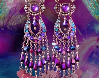 "Purple Crystal Chandelier Heart Charm Earrings, East Indian Bollywood, 5"" Long, Gypsy Jewelry, Swarovski Peacock Teal, Clip-On Option"