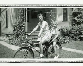 "Vintage Photo ""Sunday Bike Ride with Mom"" Bicycle Snapshot Photo Antique Photo Black & White Photograph Found Paper Ephemera Vernacular - 55"