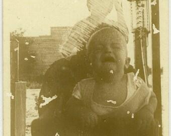 "Vintage Photo ""The Chaotic Life of Warren"" Boy Mistake Odd Snapshot Old Photo Black & White Photograph Found Paper Ephemera Vernacular - 111"