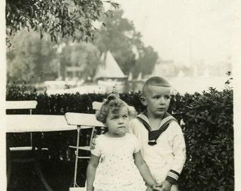 "Vintage Photo ""The Loving Brother"" Boy Snapshot Photo Old Antique Photo Black & White Photograph Found Photo Paper Ephemera Vernacular - 16"