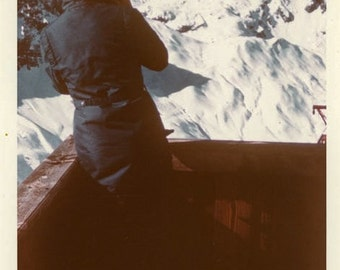 "Vintage Color Photo ""The Peak Photographer"" Girl Mountain Landscape Snapshot Photo Old Photo Photograph Found Paper Ephemera Vernacular - 41"