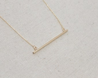 SUMMER SALE Large Shiny Gold Bar Necklace, Simple Cube Tube, Gift for Her, Layering, Minimalist, Bar Pendant