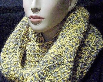 Gray Crochet Infinity Scarf. Yellow Crochet Infinity Scarf, Infinity Scarf, Crochet Infinity, Handmade Yellow Scarf, Gray Scarf